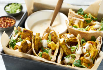 Cauliflower & Tofu Pittas with Mango Dressing